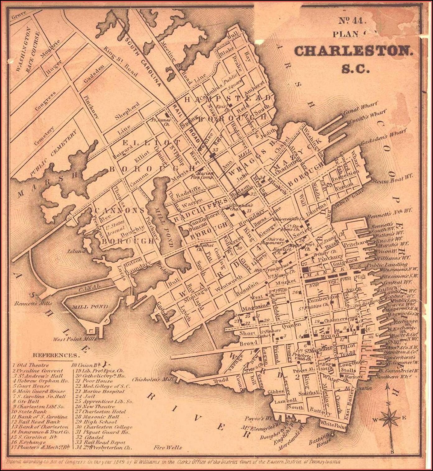 Historic Charleston Sc Map