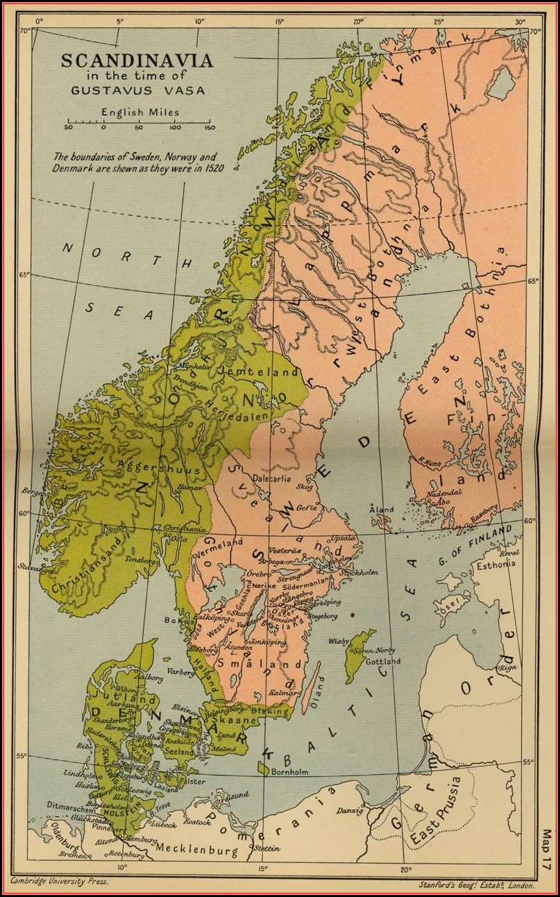 Historical Map Of Scandinavia