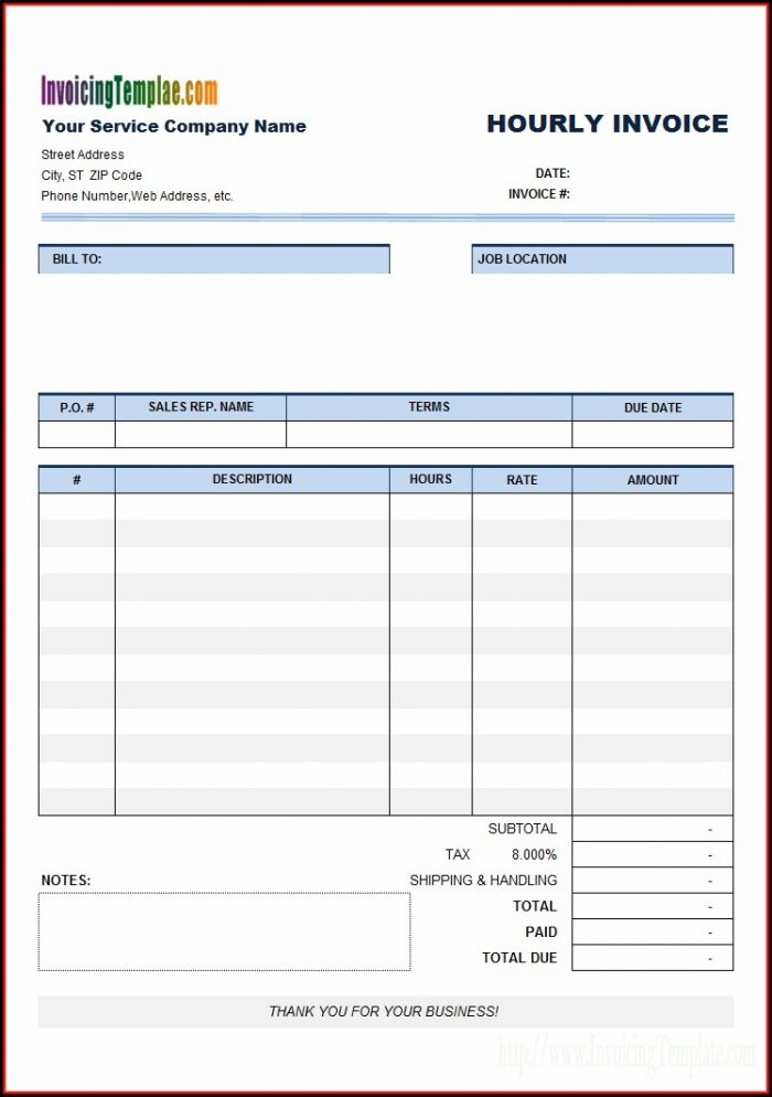 Hourly Invoice Template Pdf