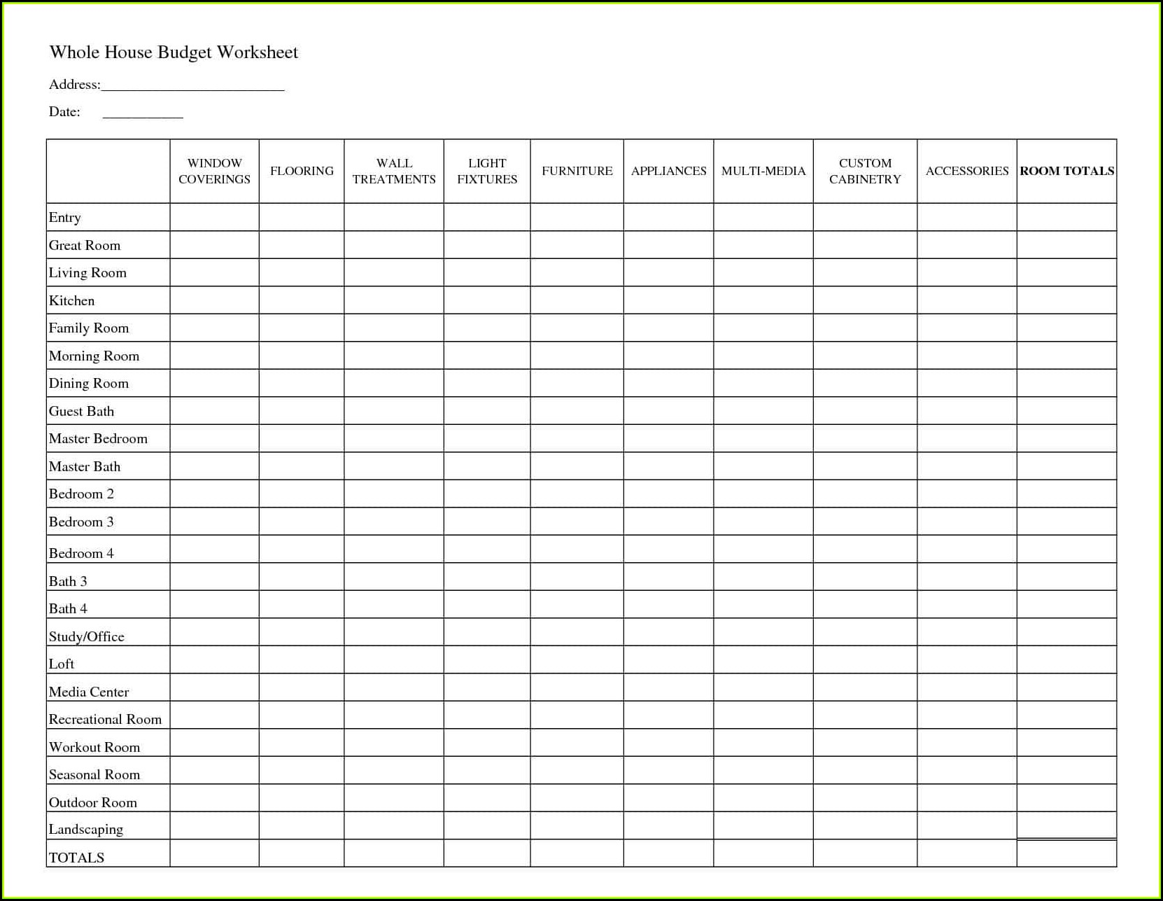 Household Budget Forms To Print