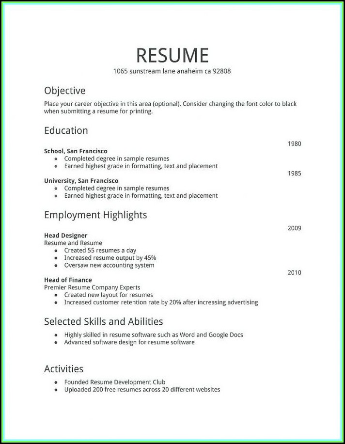 How To Fill Out A Resume For First Job