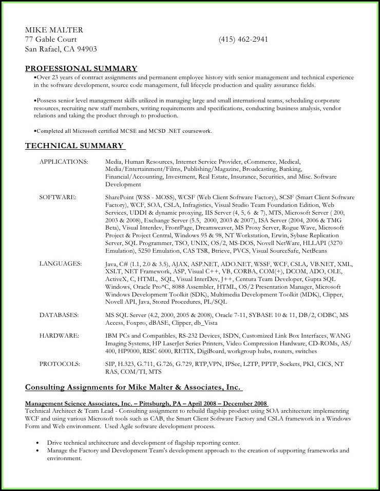 Hr Resume Format Word