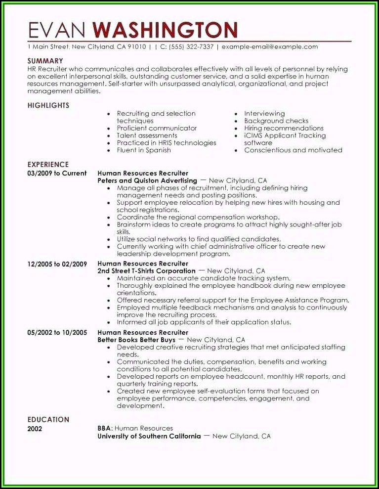 Hr Resume Templates Word
