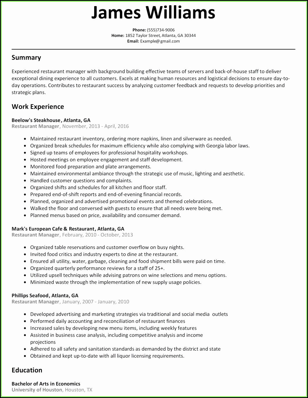 Human Resources Business Partner Resume Templates