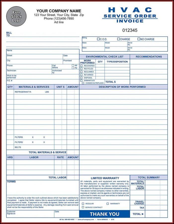 Hvac Invoice Forms