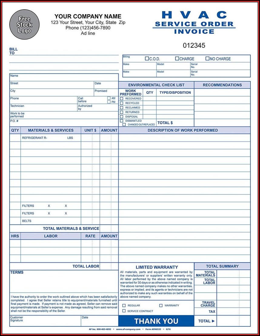 Hvac Invoice Forms