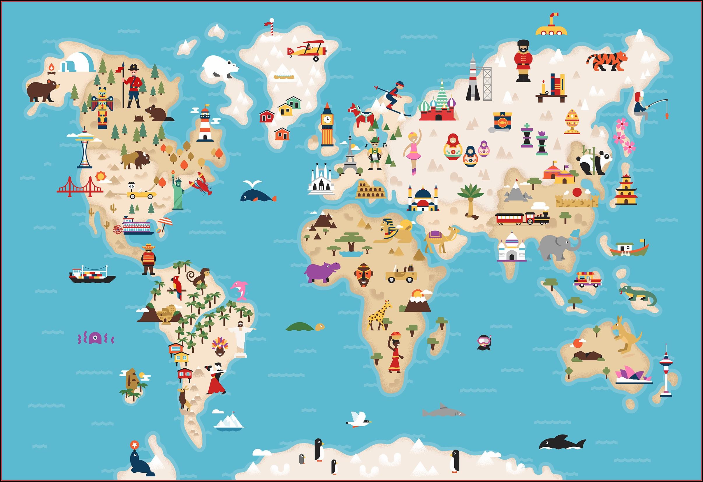Illustrated World Map Anyong Lupa At Tubig