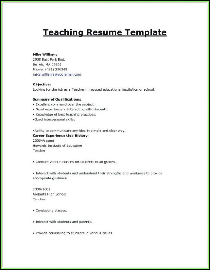 Indian Primary Teacher Resume Format In Word