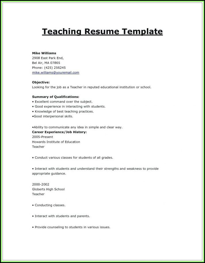 Indian Primary Teacher Resume Format In Word