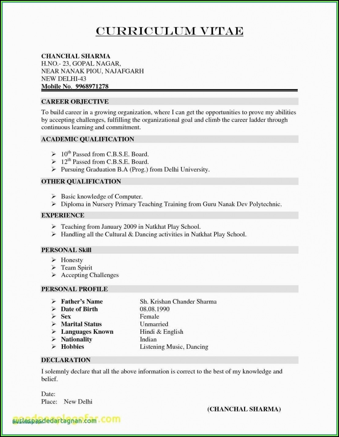 Indian School Teacher Resume Format In Word