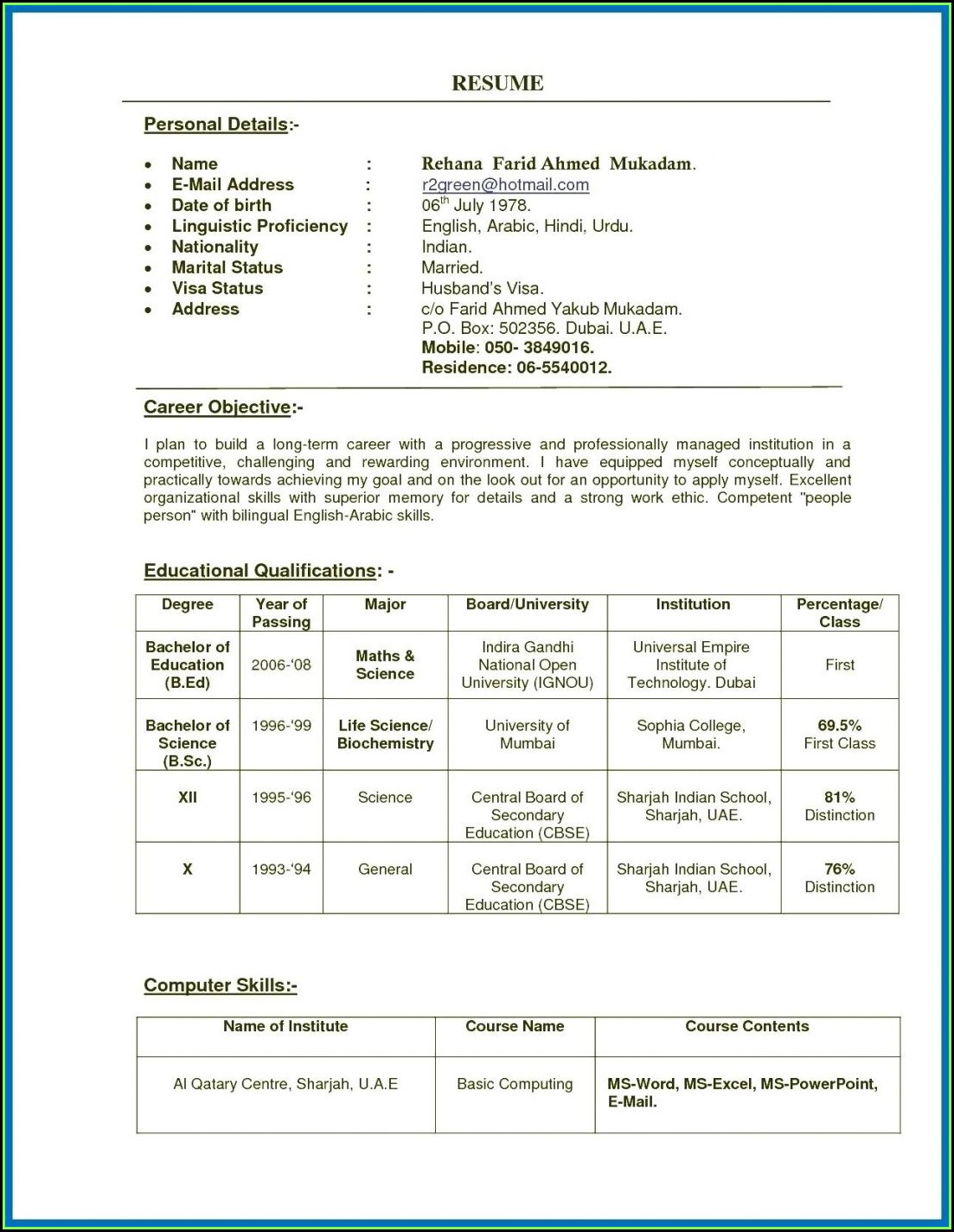 Indian Teacher Resume Format Download Pdf