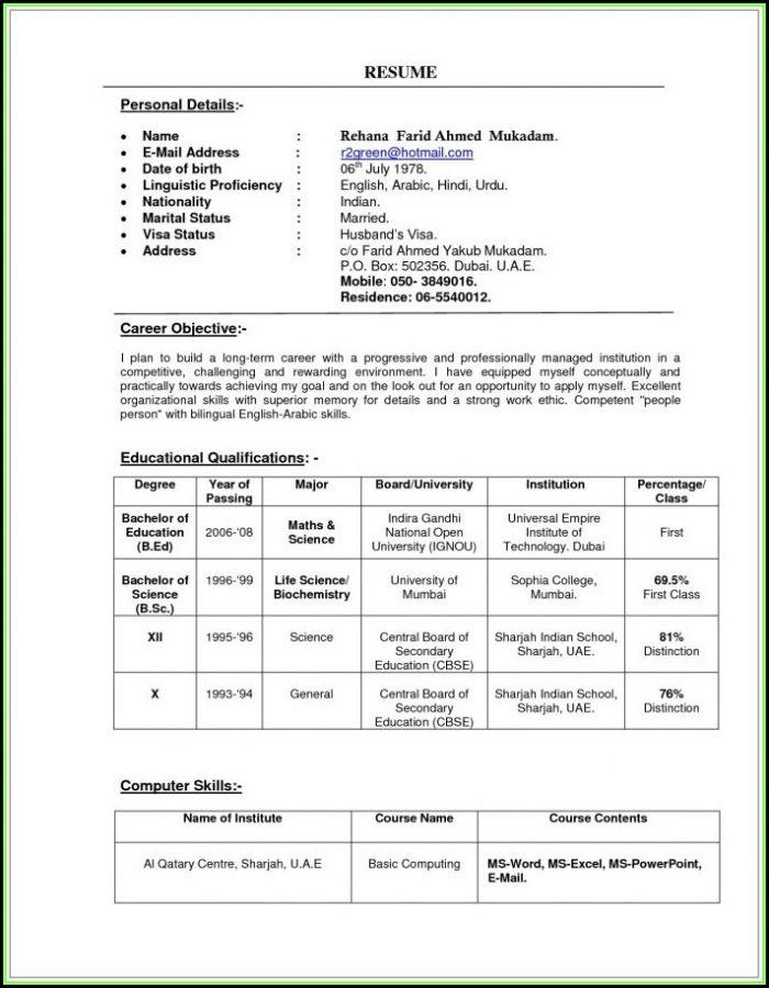 Indian Teacher Resume Format In Word