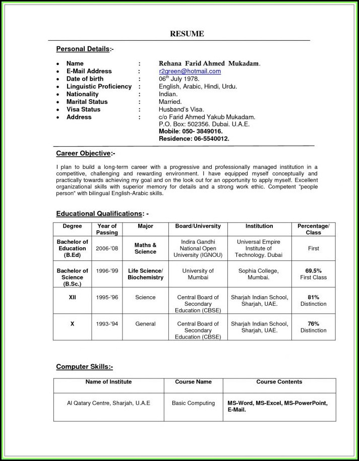 Indian Teacher Resume Format In Word