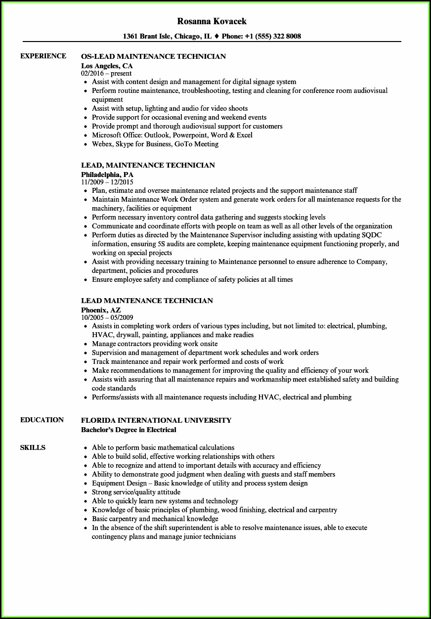 Industrial Maintenance Resume Format