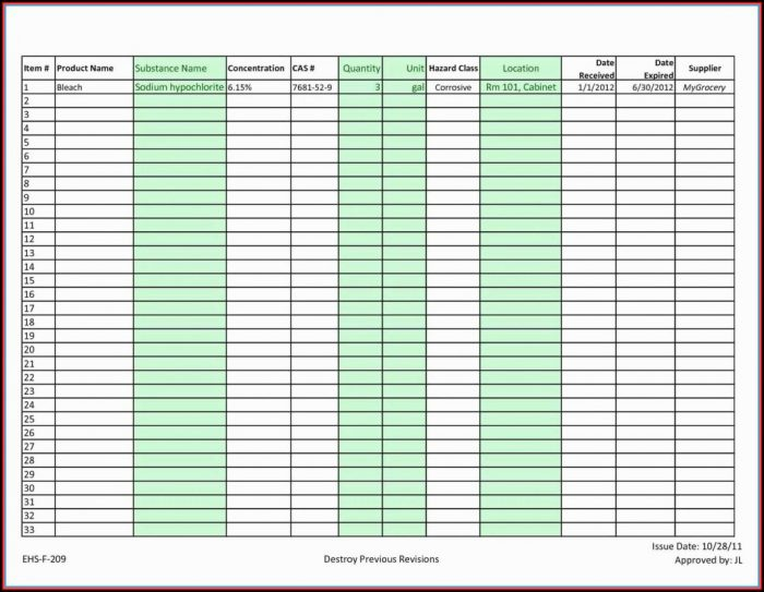 Inventory Spreadsheet Template Google Docs