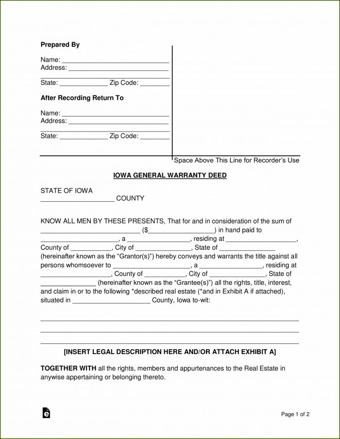 Iowa Special Warranty Deed Form