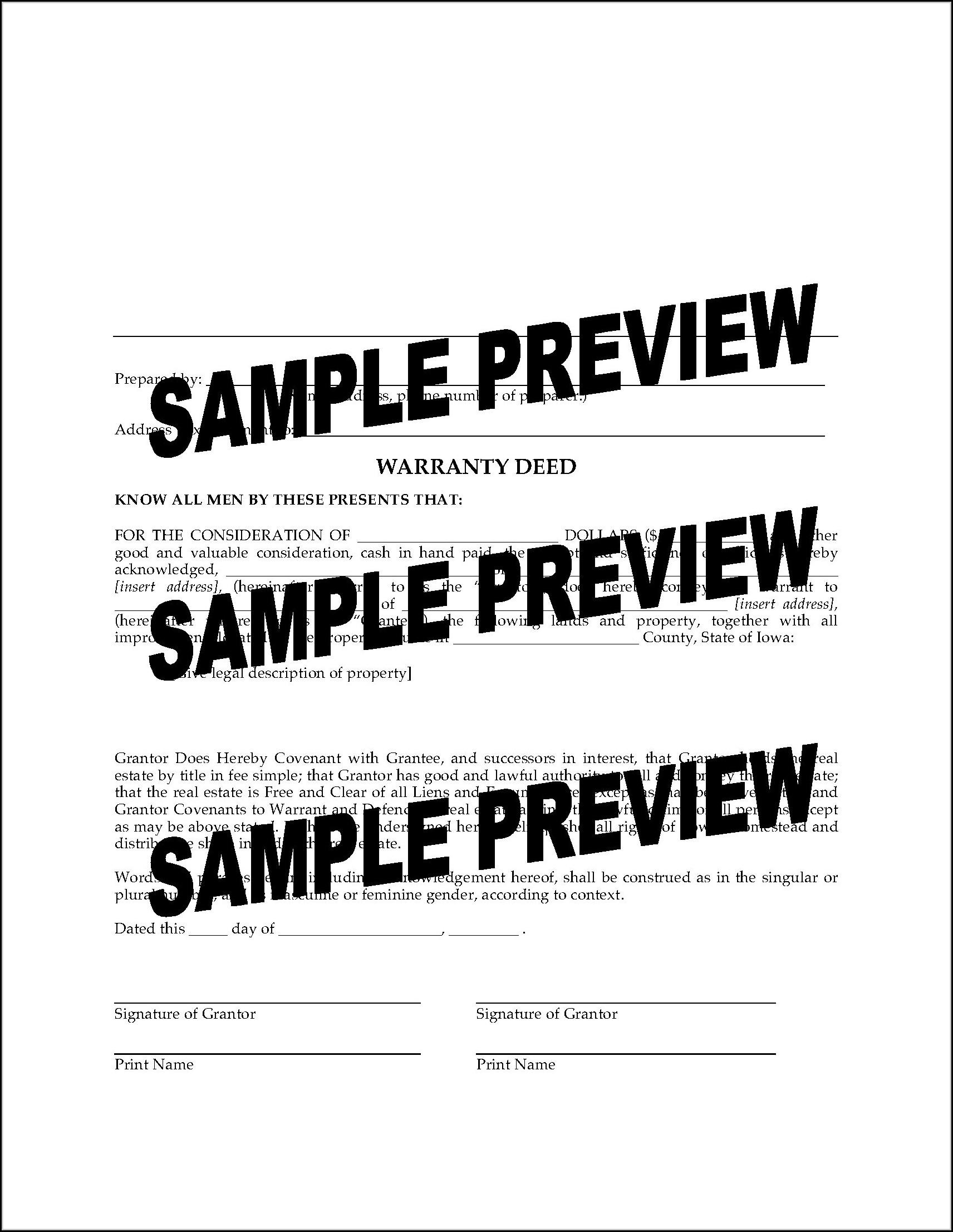 Iowa Warranty Deed Form