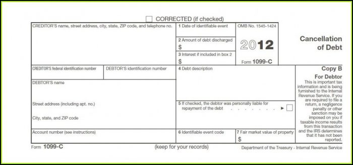 Irs Cancellation Of Debt Form 982