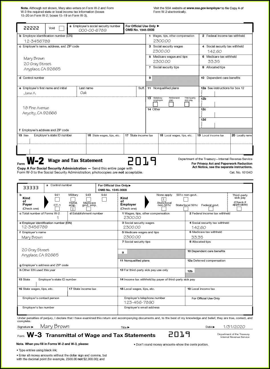 Irs Forms W2 And W4