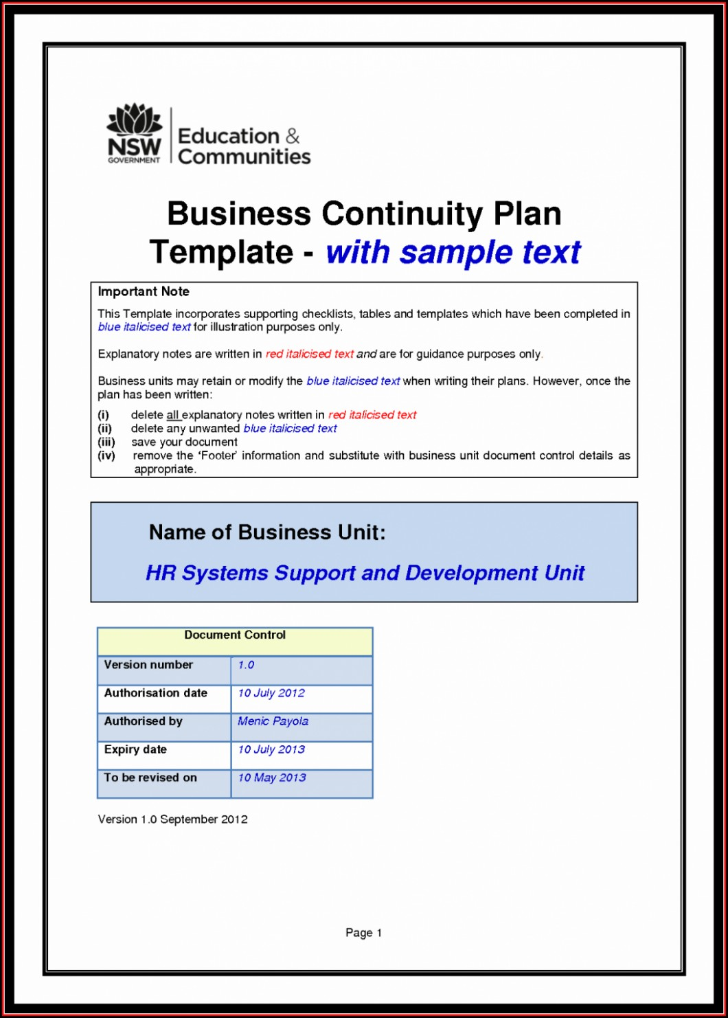 It Disaster Recovery Plan Template Free