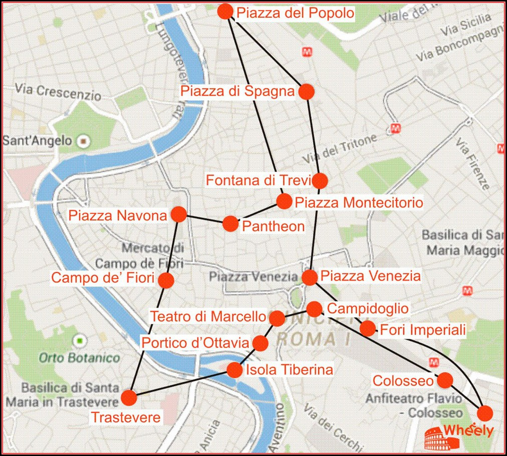 Jewish Ghetto Rome Walking Tour Map