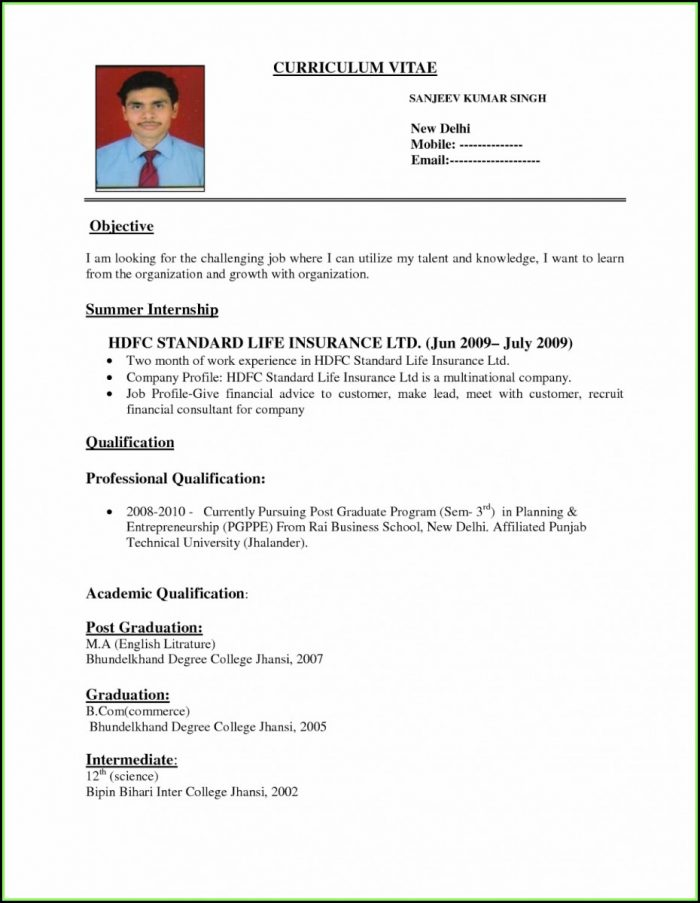 Job Resume Format Pdf File Download