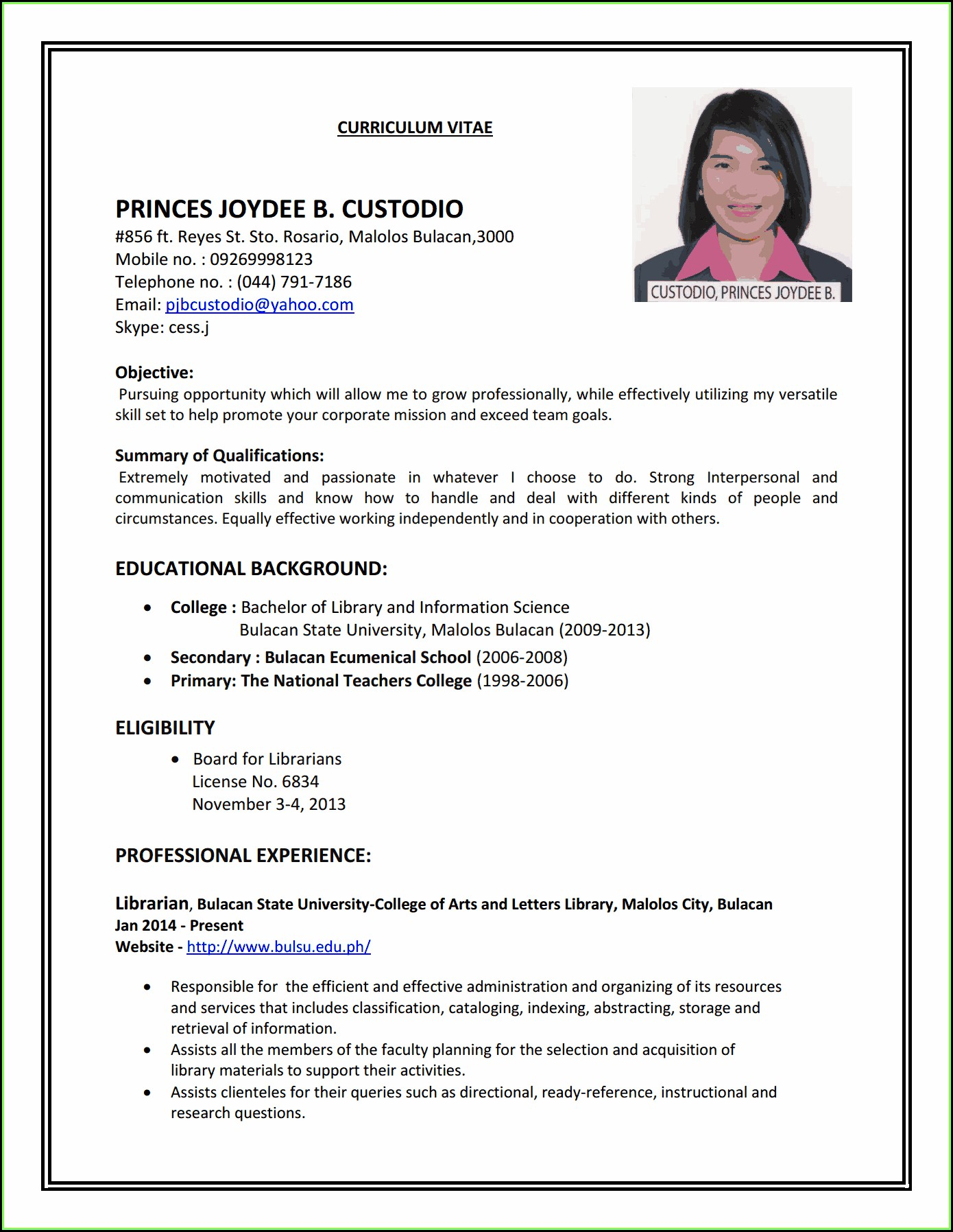 Job Resume Format Pdf For Freshers Download