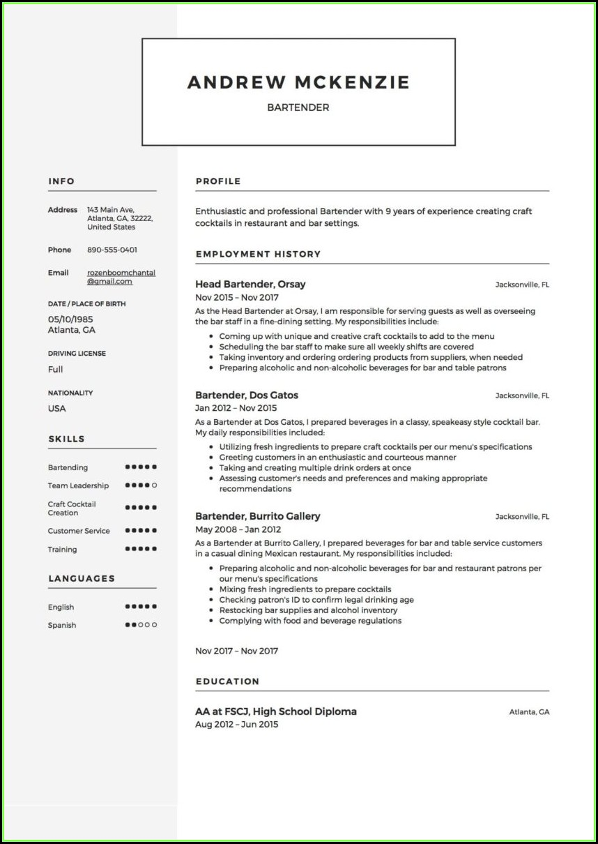 Job Resume Samples Word