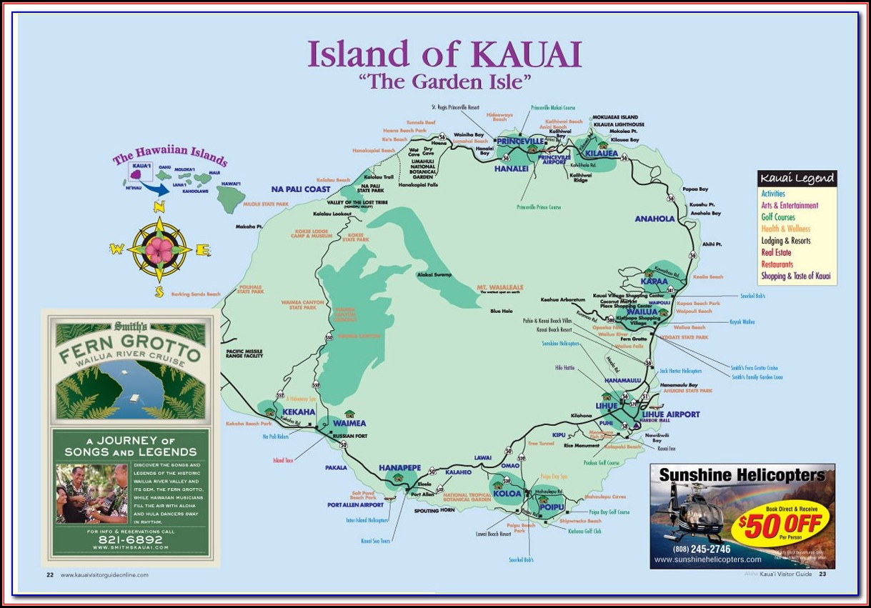 Kauai Island Map Hotels