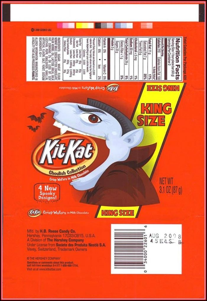 King Size Candy Bar Wrapper Template