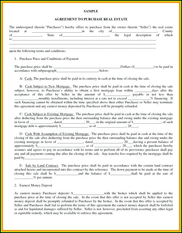 Land Contract Form Michigan