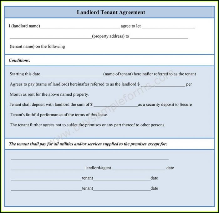 Landlord Tenant Agreement Form Sample
