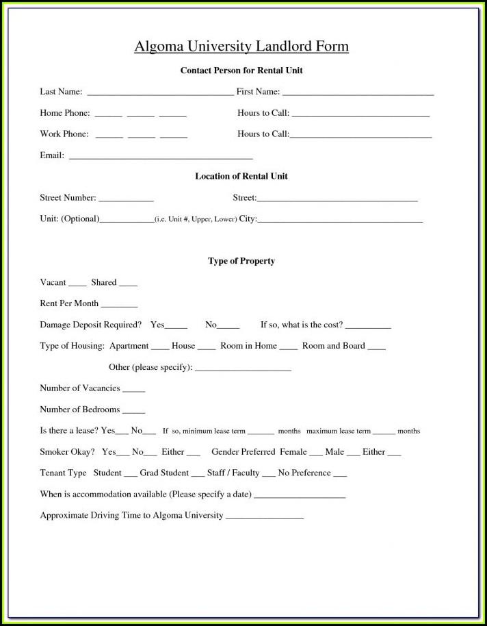 Landlord Tenant Agreement Forms Ontario