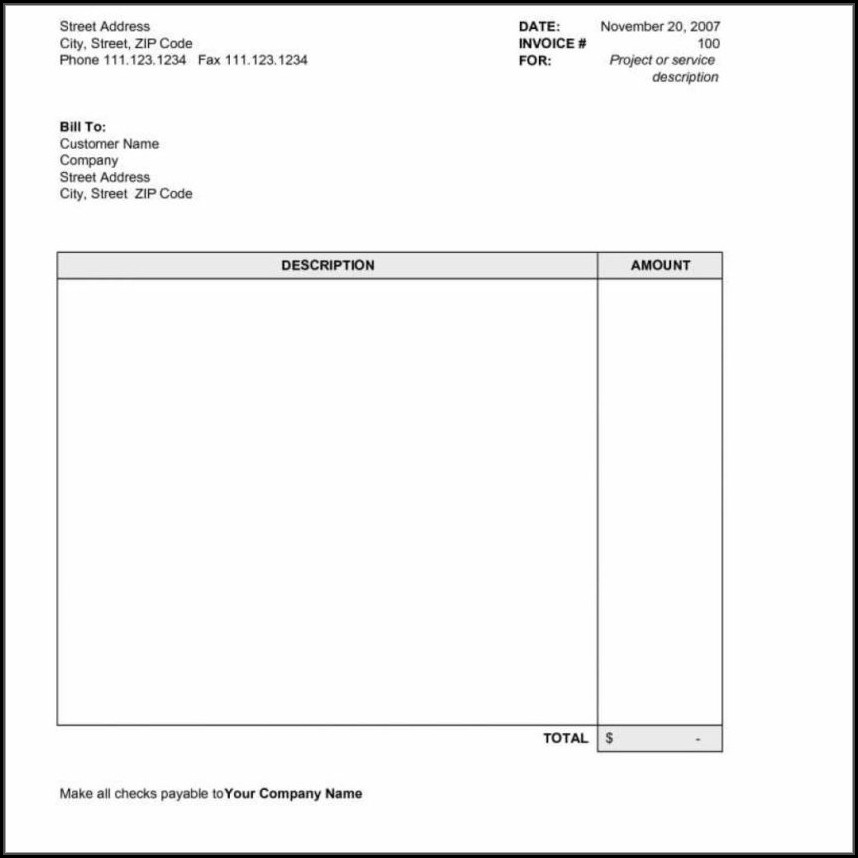 Landscaping Invoice Template Word