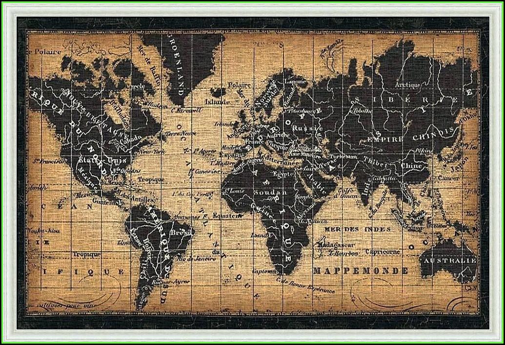 Large Framed Antique World Maps