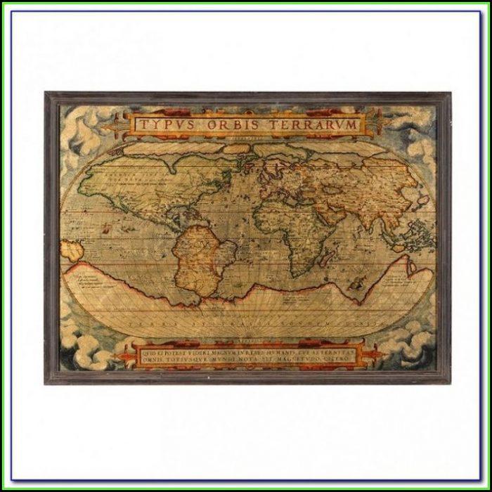Large Framed Old World Maps