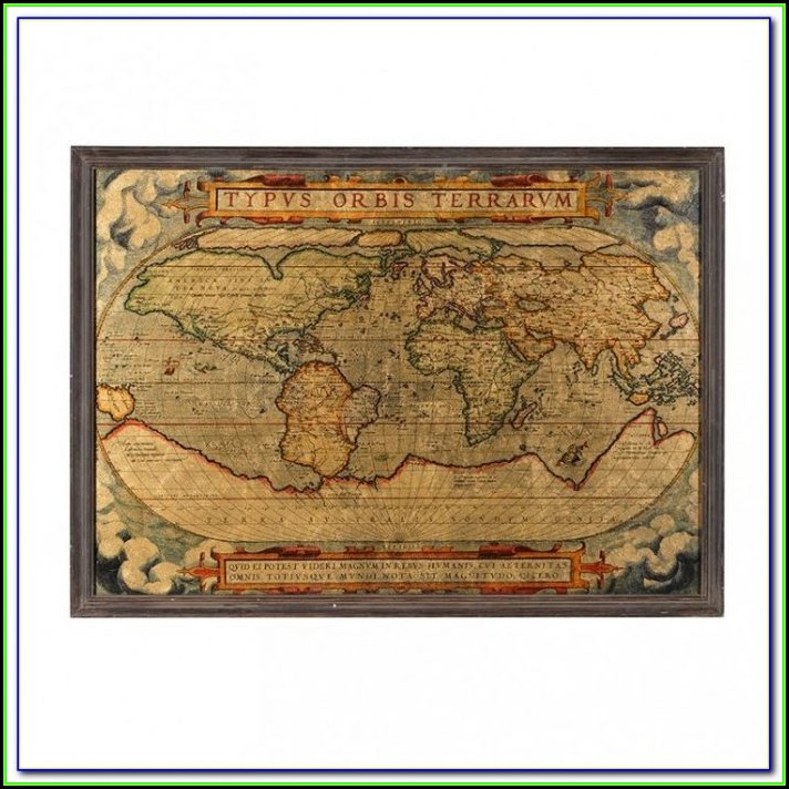 Large Framed Old World Maps
