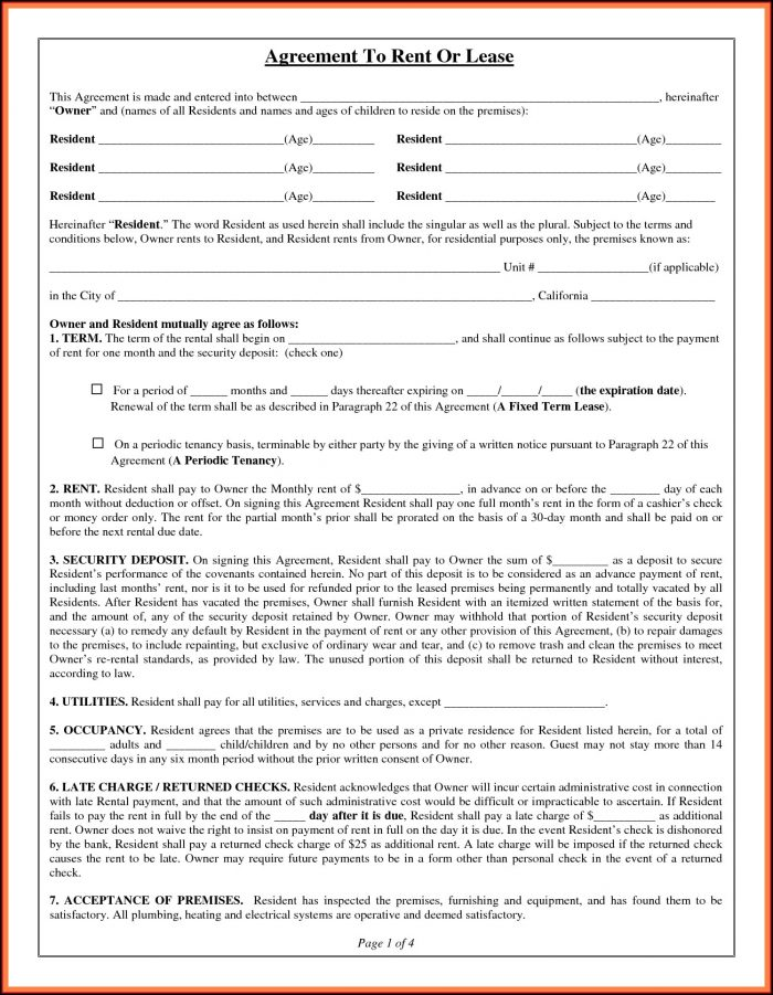 Lease Agreement Template Word Document