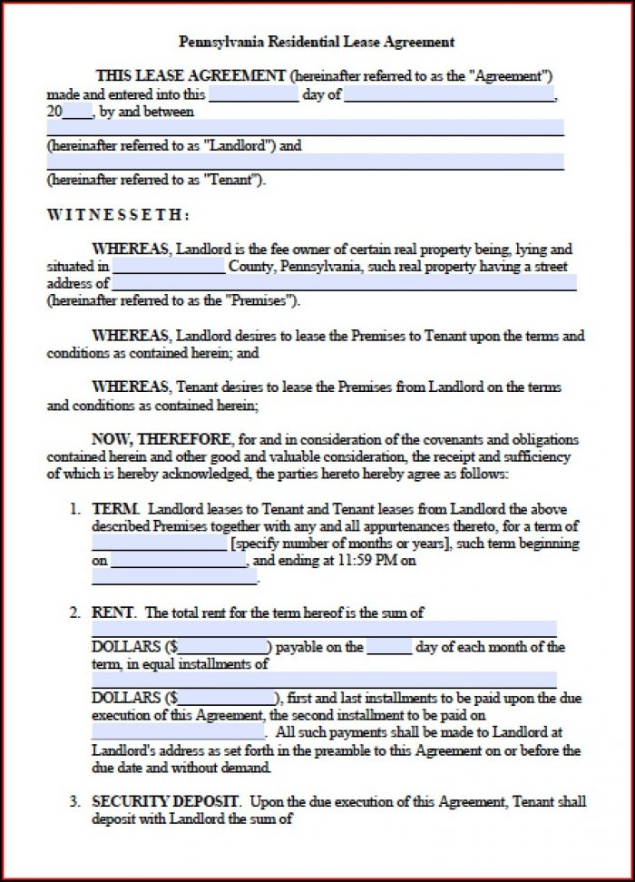 Lease Template Word Doc