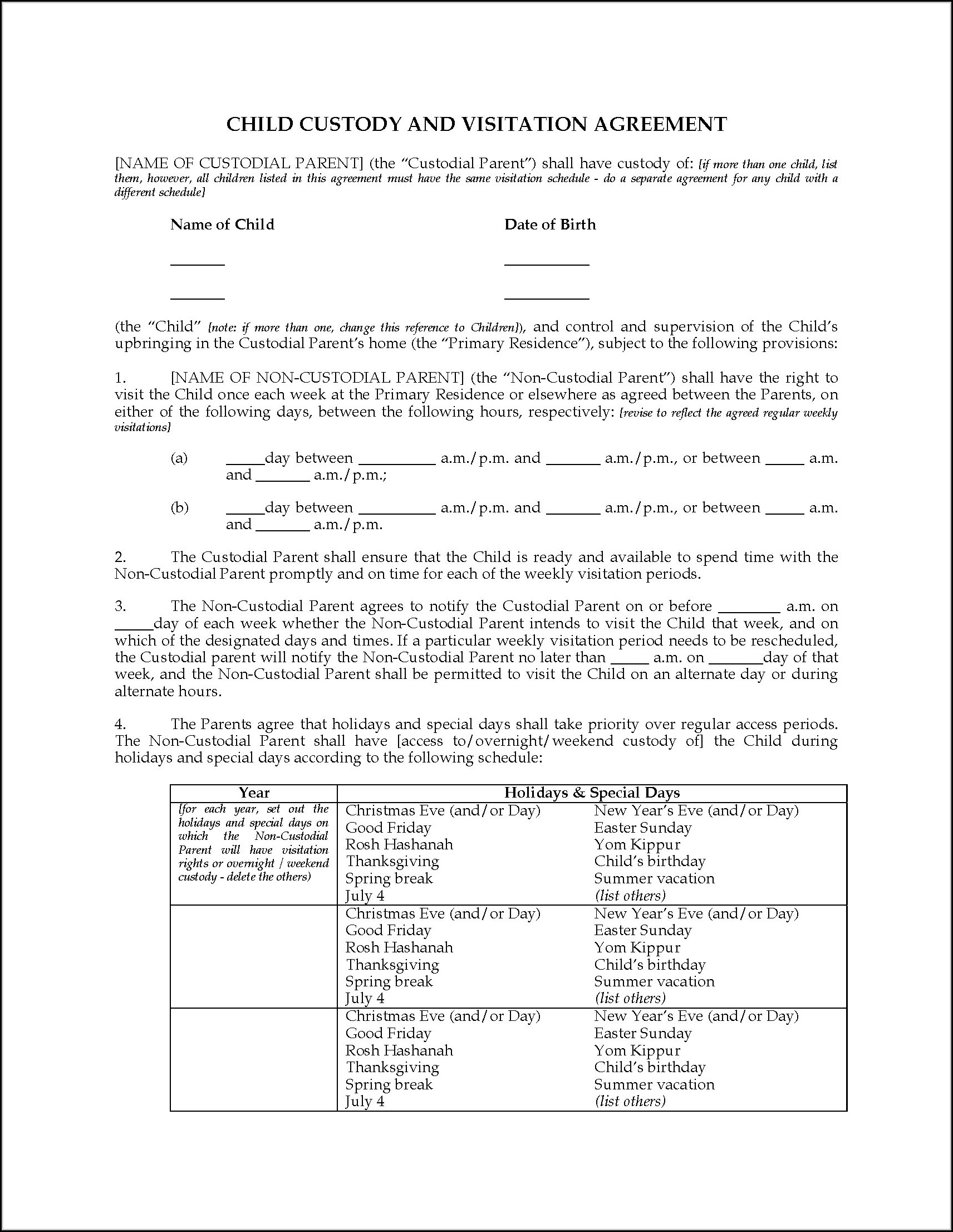 Legal Child Custody Agreement Forms
