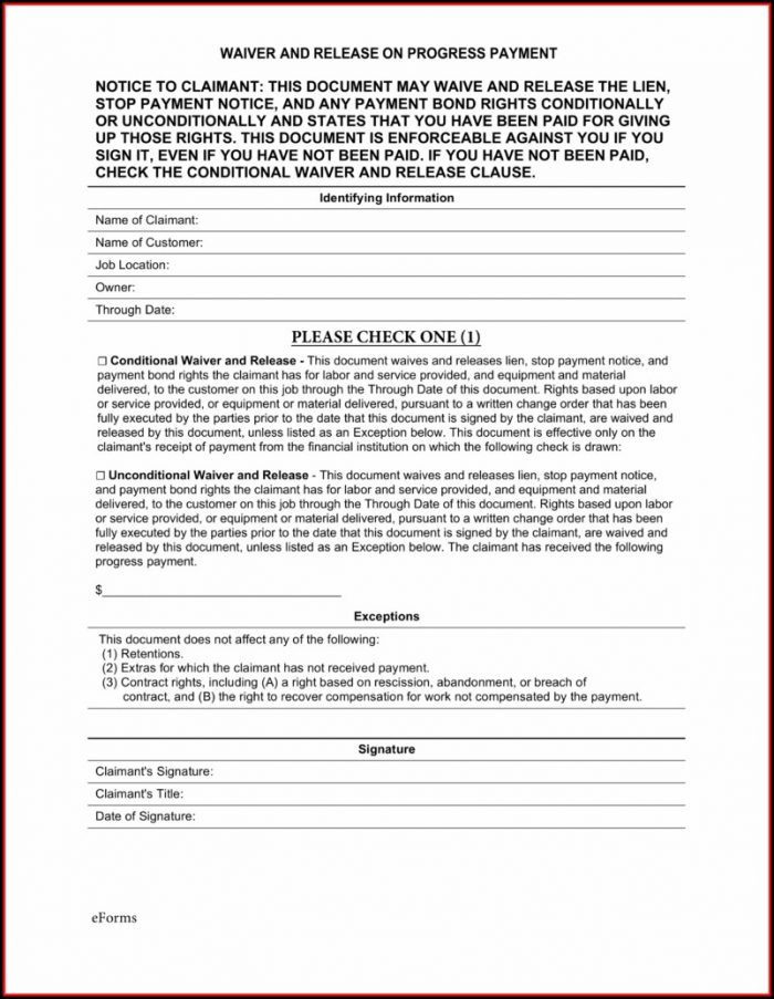 Lien Waiver Example