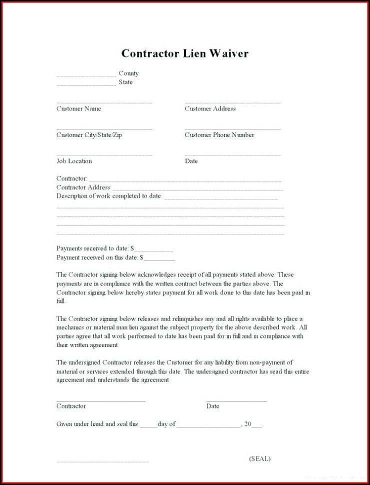 Lien Waiver Template Missouri