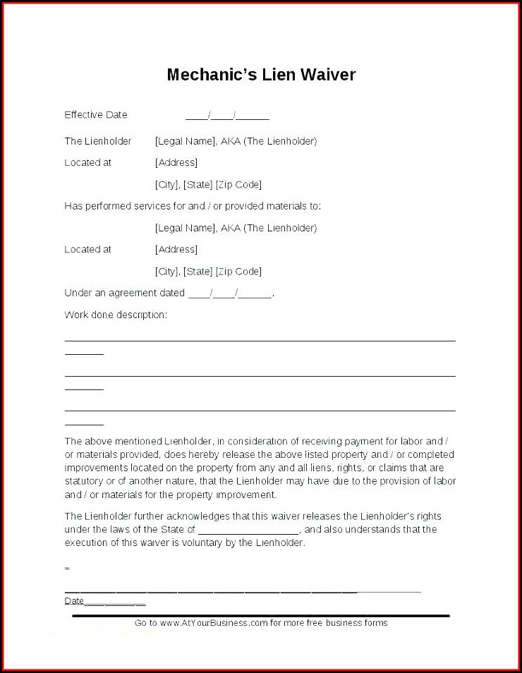Lien Waiver Template