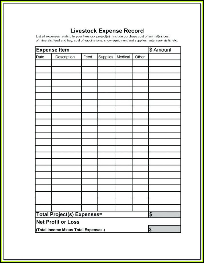 Livestock Record Keeping Forms