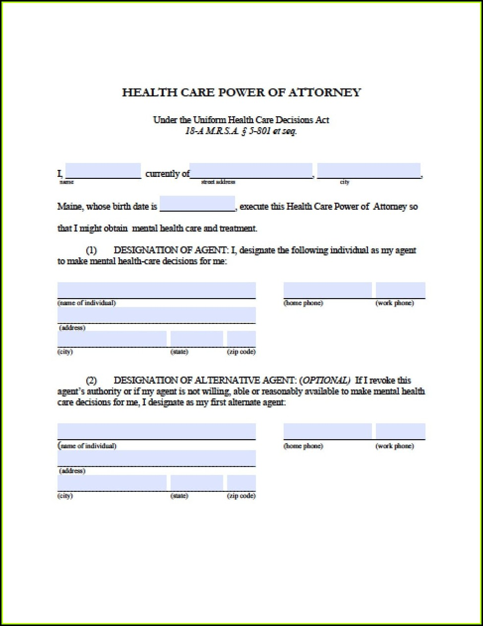 Maine Power Of Attorney Form