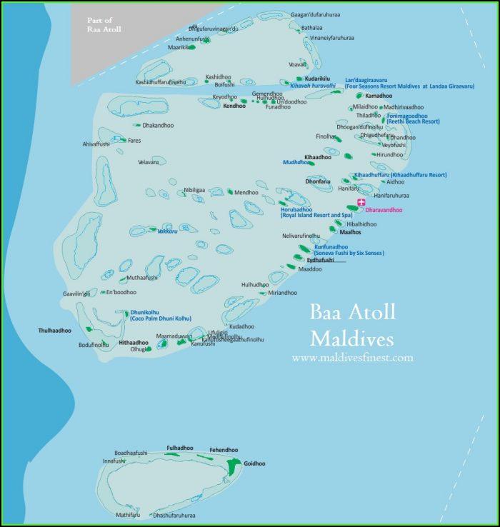 Maldives Islands Map Resorts