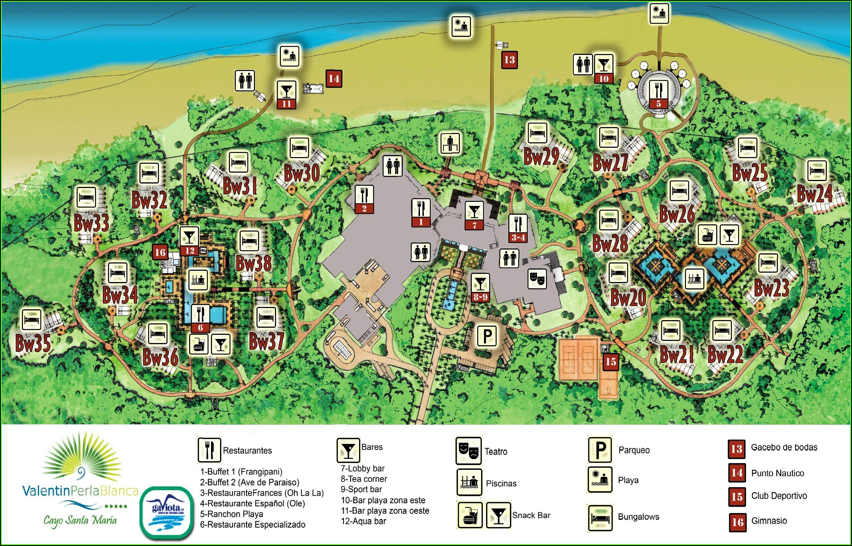 Map Of All Hotels In Cayo Coco Cuba