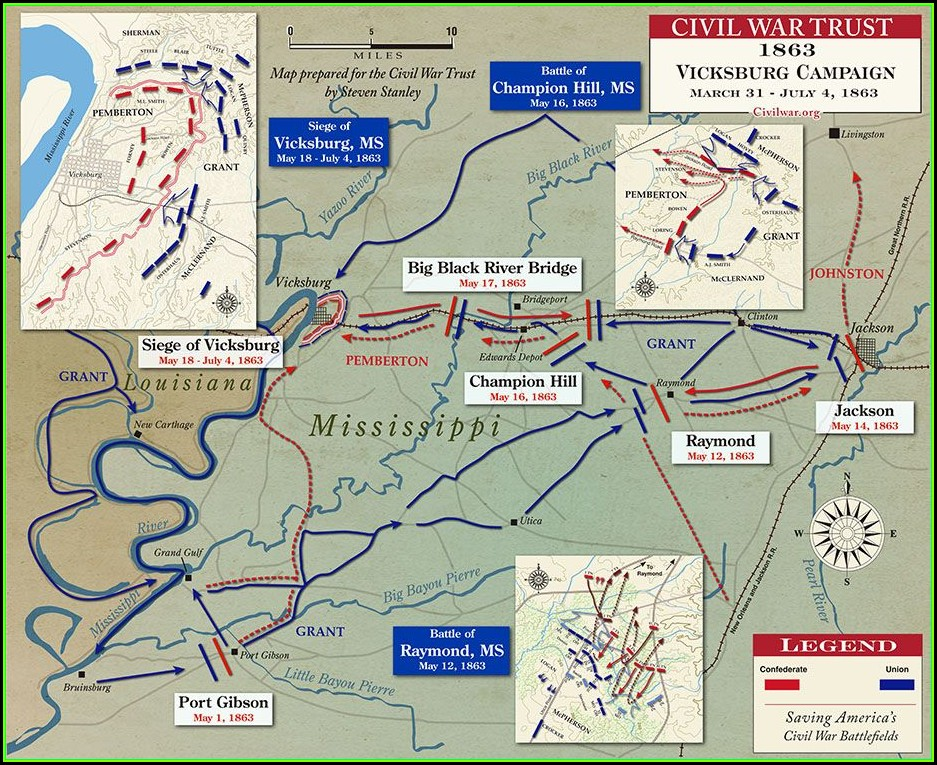 Map Of Civil War Battles In Mississippi