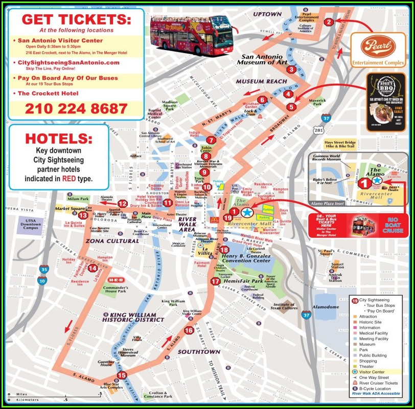Map Of Downtown San Antonio Riverwalk Hotels