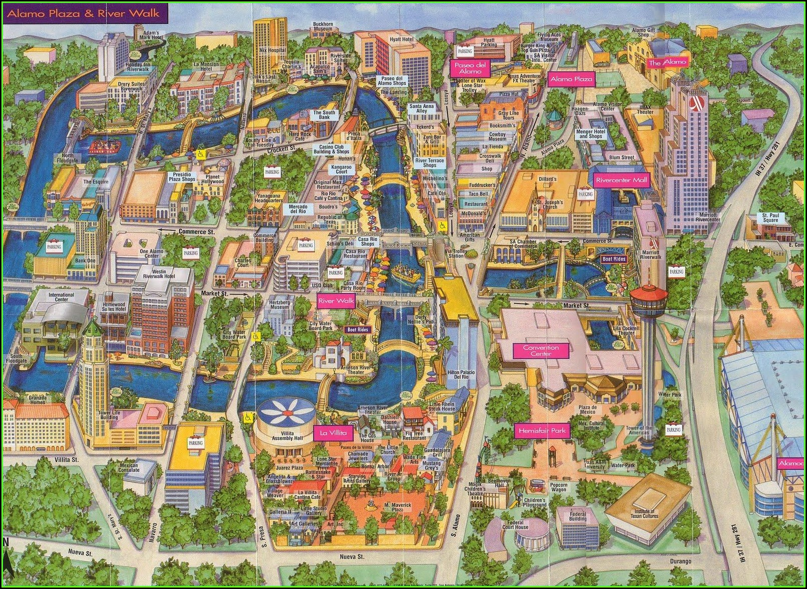 Map Of Hotels Along Riverwalk San Antonio